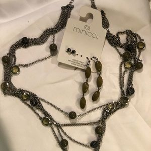 Olive green and gunmetal necklace & earrings